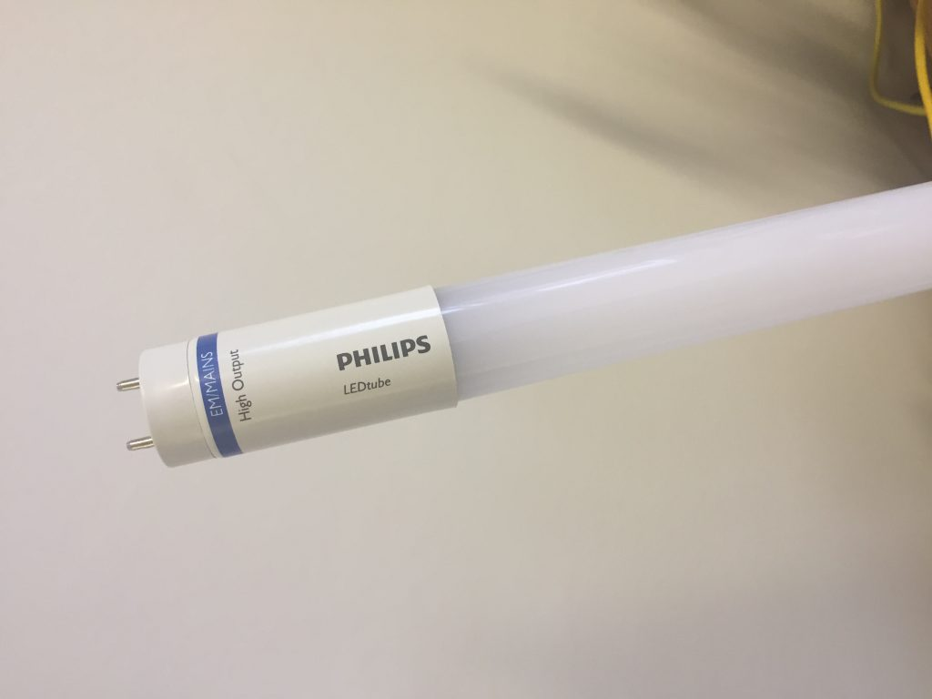 Close up of the Philips Master LED tube used in the installation